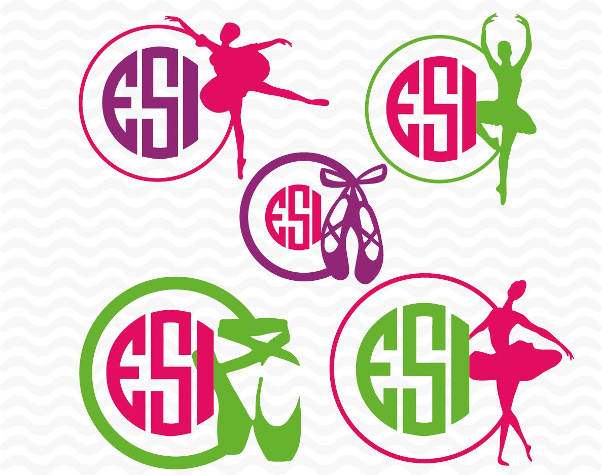 Ballerina Ballet Shoe Monogram Designs Svg Dxf Eps For