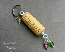 Floating Keychain, Wine Cork Keychain, Beaded Keychain, Wine Cork Crafts, Rhinestone Keychain, Bartender Gift, Unique Key Chains, Key Fob