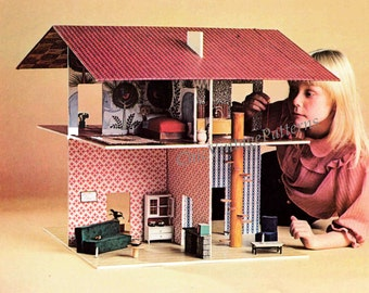 Vintage DOLL'S HOUSE .. Open Dolls House .. Basic Woodworking .. PDF Pattern .. Two Storey .. Folds Flat For Easy Storage