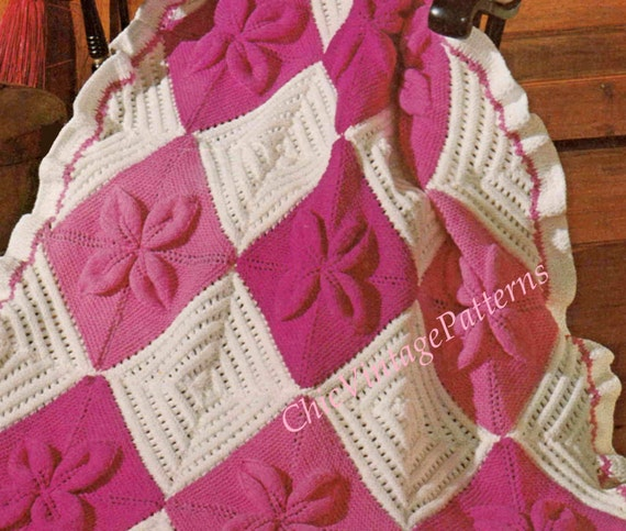 Nantucket Afghan Knitting Pattern : Knitted Afghan Rug ... PDF Knitting Pattern ... Attractive ...