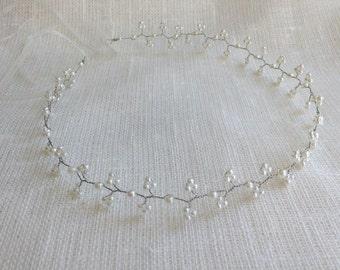 Glass pearl bridal hair vine, wedding hair vine, wedding hair piece, bridal headpiece, hair vine, pearl vine, pearl hair vine