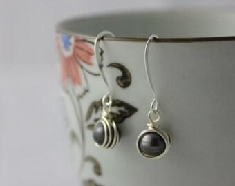 Black freshwater pearl silver wire wrapped earrings