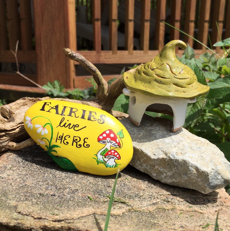 Fairy House Painted Rock Garden Decor Fairy Garden Lover