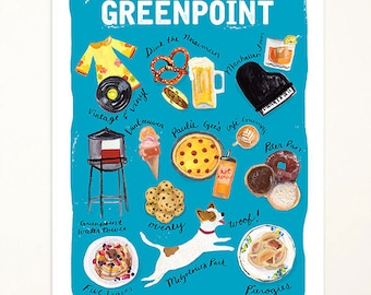 8x10 Greenpoint Brooklyn Art Print. Illustration. Brooklyn Art