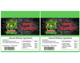 Teenage Mutant Ninja Turtles birthday Candy Bar Wrapper