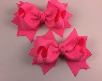 Neon pink hair bow set of 2