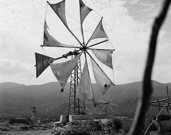 Mykonos Greece, black and white photograph, Mediterranean island, windmill photo, greek summer, vintage photo, year 1968, Mykonos windmill