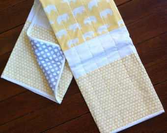 White Elephants Yellow with Yellow Spotted Panel Quilt