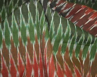 Handloom Ikat Fabric, Indian Cotton Fabric - Ikat Pattern Cotton Fabric Multicolor Ikat
