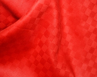 Red Soft Glazed Cotton Fabric, Indian fabric, Red Checks Textured Cotton Fabric - Cotton Fabric by Yard