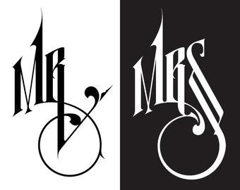 Wedding Car Decal, Mr&Mrs