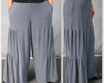 Comfy Plus Pants, Gray Pants, Tiered Pants, Plus Size Pants,Wide leg Pants, Lagenlook Pants, Palazzo Pants,  Size XL To 4XL, Fun, Travel.