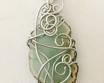 Wrapped seafoam colored agate stone pendant necklace.