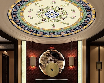 Large Wood Ceiling Mural Chinese Painting,Crystal Lamp,Bedroom,Living Room,Hotel Decal 05075