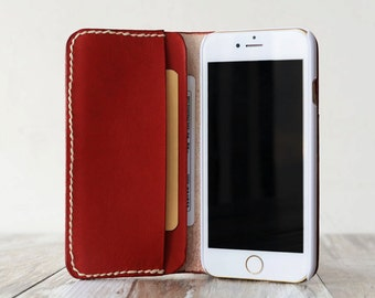 Personalized Leather IPhone 6 Case / iphone 6 wallet / women's or men's iPhone 6 wallet / iPhone 6 Plus Case Wallet / iphone Leather- red