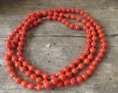 Vintage Orange Glass Bead Single Strand Necklace with Gold-Tone Trim Antique