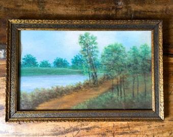 Antique Landscape with Wood Frame, Vintage Pastel Drawing