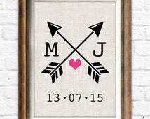 Heart and Arrow Wedding Anniversary Gift, Lover Sign Wall Decor, Personalized Housewear, Dictionary Art Print, Choose Your Initials #cf10a