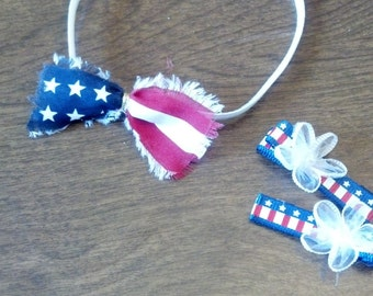 4th of July Patriotic Headband and Hairclips