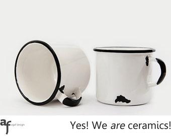 """2 x The """"I am a Ceramic"""" Handmade Mug (White - 330ml)"""