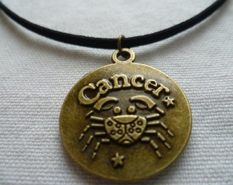 Cancer choker,zodiac jewelry,cancer necklace.zodiac choker,cancer jewellery,gift, black choker,horoscope,cancer crab,birthday,astrology,