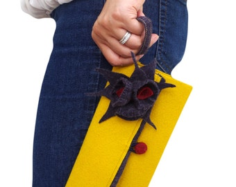 Yellow Statement Clutch Purse,Yellow Wristlet Clutch, Flower Purse, Unique Yellow Clutch, Small Felt Handmade Clutch, Yellow and Gray Clutch