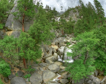 Misty Falls, Yosemite, Waterfall, Trees, Smoke, Mountain, Water, Green, California