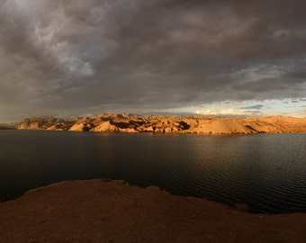 Lake Mojave, Storm Clouds, Sunset, Panorama, Mountains