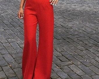 Red high waist, wide-leg pants