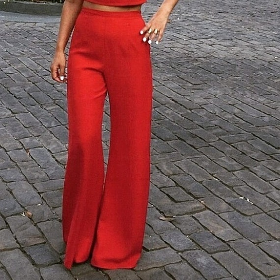 Red high waist wide-leg pants by EllaEman on Etsy