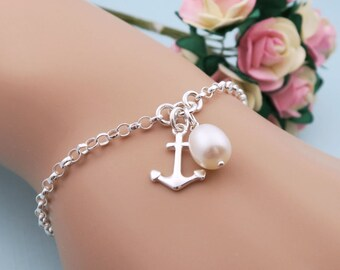 Silver Anchor Bracelet With Freshwater Pearl, Bridesmaids Bracelet, Bridesmaid Gift, Sterling Silver Anchor Jewelry, Nautical Anchor