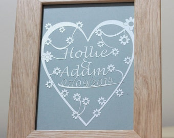 Personalised Heart Papercut Laser Craft in Oak Frame - Personalise With Names / Date