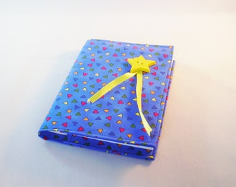 Fabric Covered Notebook – A 6 – Blue with multicoloured triangle fabric