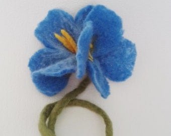 Felted brooch Blue Flower Felted large flower Jacket brooch Coat brooch Felted jewelry Wife gift Mother's Day gift