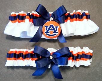Handmade Navy Blue and Orange Wedding Garter Set Bridal Garter Set, with Auburn University® Fabric Covered Button Embellishment (#C/06-A)