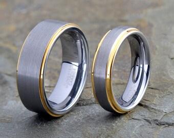 Tungsten wedding Set, Polished Yellow Gold Plated, Rings 8mm 6mm, tungsten wedding band, mens wedding band, mens tungsten wedding band