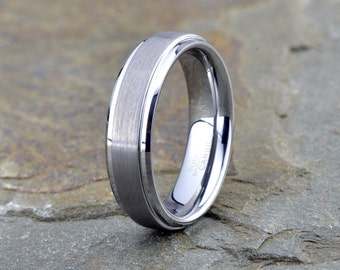 Tungsten Carbid Wedding Band, Brushed, 6mm, Beveled Stepped Edge, Tungsten Wedding Band, Tungsten Wedding Ring, Anniversary Band,