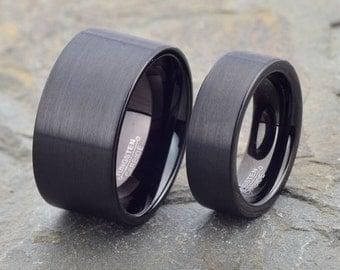 Wedding Tungsten Matching Set, Band His Hers 12mm 7mm, Custom Engraved, tungsten wedding band, mens wedding band, mens tungsten wedding band