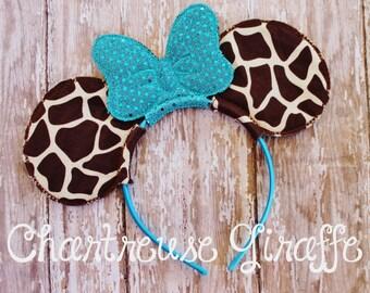 Giraffe & Turquoise Minnie Mouse inspired Ears Headband