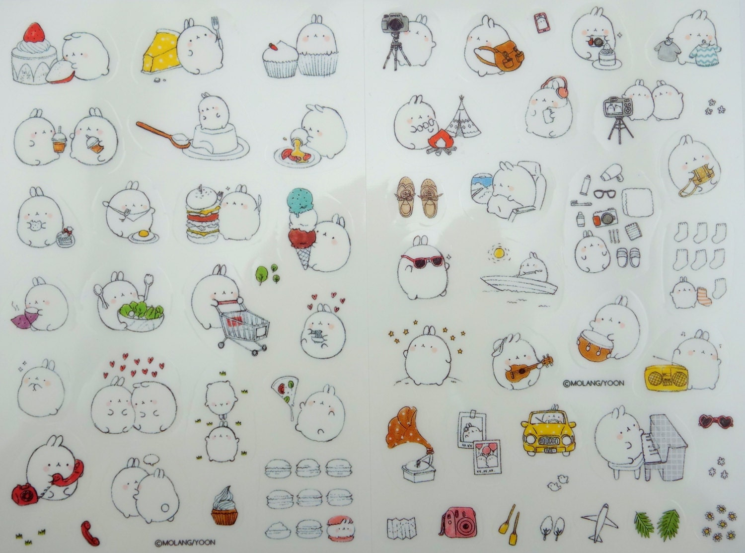 six sheets korean molang mochi bunny rabbit stickers kawaii