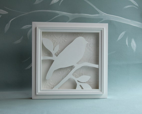 White Wood Bird Silhouette Wall Art Bird And Branch By