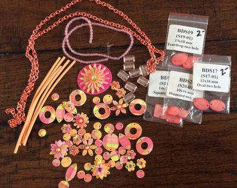STASH REDUCTION - CLEARANCE - Hand Painted Components, Glass Beads and Chain