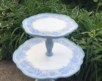 Hand painted Hydrangeas and roses two tier antique table