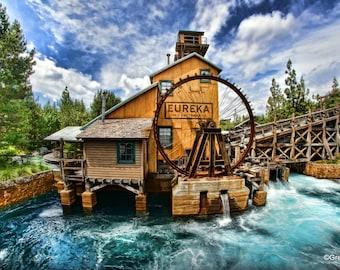 Disney California Adventure Grizzly River Run, Metallic Paper  / Metal Print