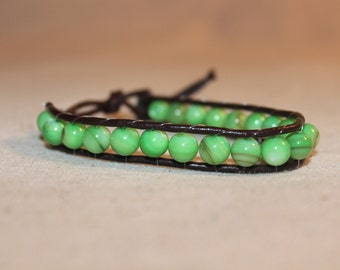 Green and Brown Wrap Bracelet