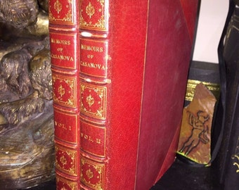 Memoirs of Jacques Casanova, Two Volumes, Red Leather, 1923, Limited Edition