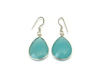 Aqua Chalcedony Drop Earrings, Silver Aqua Stone Earrings