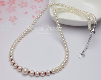 Graduated genuine fresh water pearl Ruby necklace,  Bridal Bridesmate Wedding Necklace, Everyday necklace, Genuine Ruby necklace 510