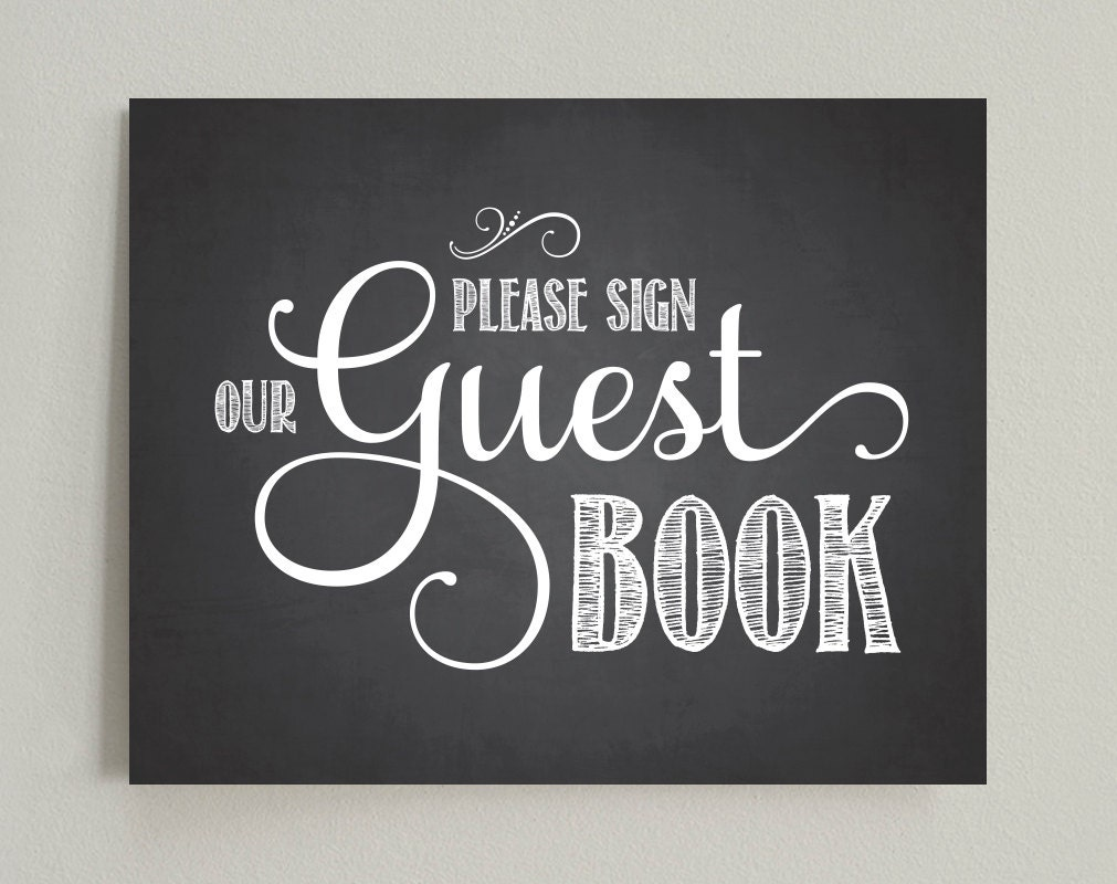 Please sign our guest book wedding printable sign pdf for Visitors book template free download