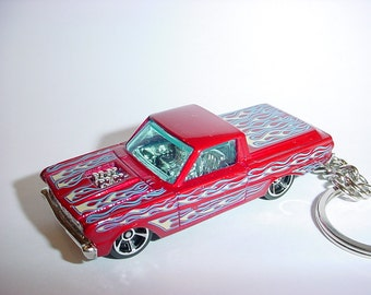 3D 1965 Ford Ranchero custom keychain by Brian Thornton keyring key chain finished in red/flames